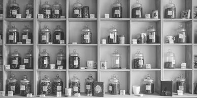 Wall of different Traditional Chinese Herbs