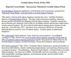 Reported Versus Reality - 'Inaccuracies' Rebutted by Scottish Salmon Watch