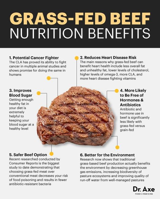 Grass-Fed Beef Nutrition best protein, higher vitamin A and E and cancer-fighting antioxidants.