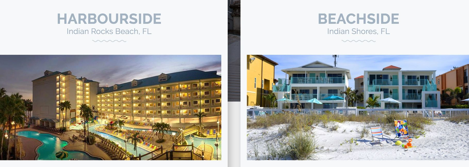 picture of our two hotel properties, one on the beach and one on the intracoastal www.glassbottomtours.com