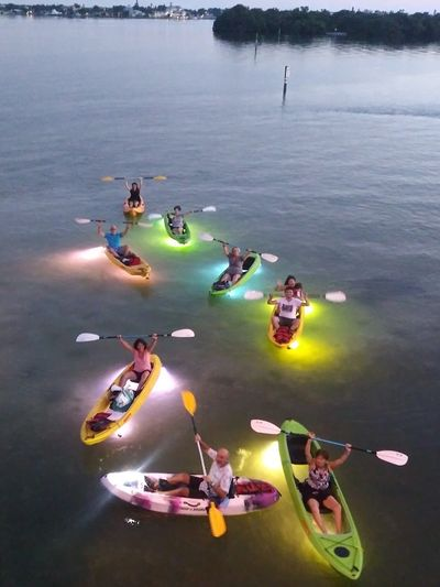Clearwater Beach Sunset to Night Eco Tour. Glass Bottom Kayaks LED illuminated!  www.glassbottomtours.com