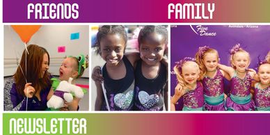 Newsletter Header graphic, friends, family, dancers and teacher