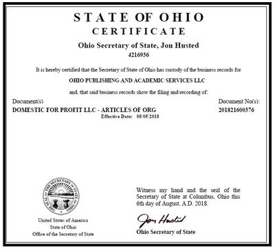 Ohio Publishing and Academic Services Company Registration.