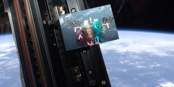 Astronaut Ron Garan took pic of Beth Beck's pic as it floats weightless in the Space Station cupola.