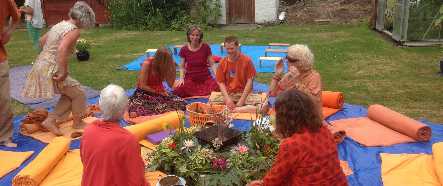 Yoga chanting in the garden
