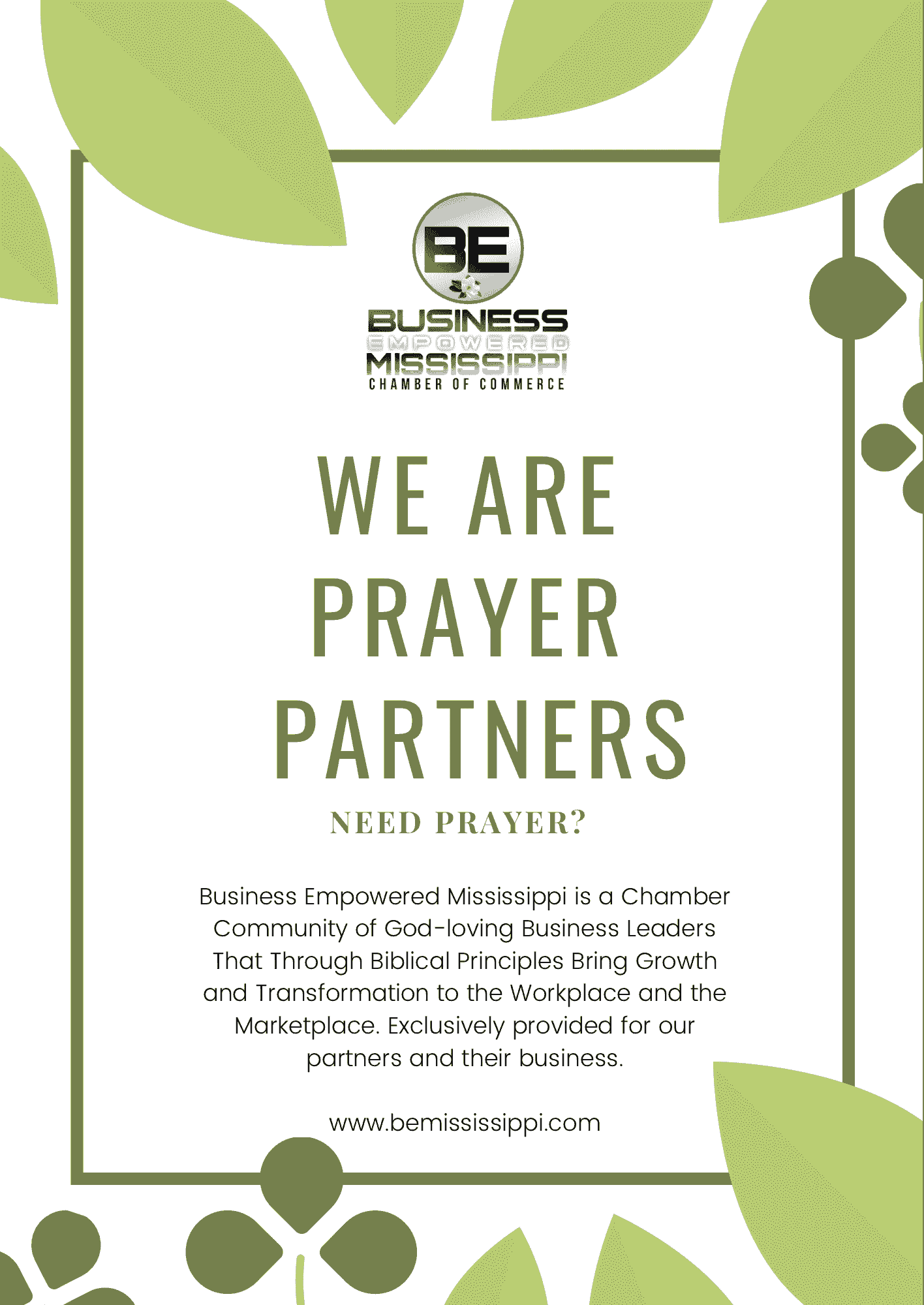 If we've ever needed a praying Chamber of Commerce the time now. Let us pray for you!