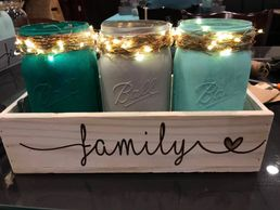 Mason jar wood box centerpiece