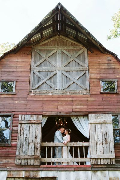 Rustic Red Barn with Bride and Groom