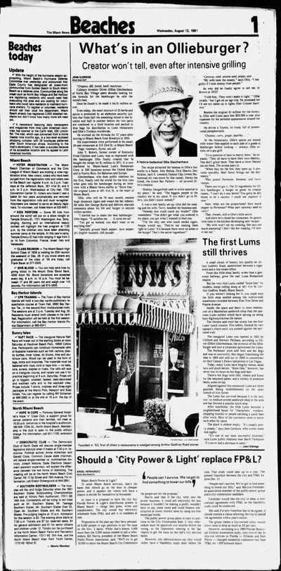Ollie Burger news paper article