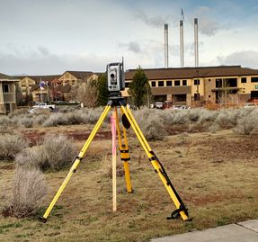 Land surveying robotic total station in the Old Mill District of Bend, Oregon.