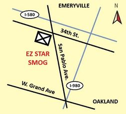 Mini Map showing the location of EZ Star Smog Check Oakland Test Only