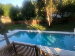 Backyard heated salt water system pool with private setting. Large pool for infants or swim laps.