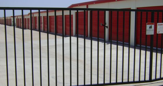 Security gate Switzer's Locker Room self-storage facility Norman Oklahoma