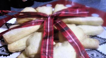 Scottish shortbread with a tartan ribbon