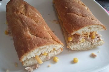 Tuna and sweetcorn filled baguettes