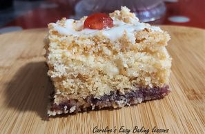 gluten free cherry bakewell crumble squares