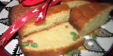 sliced madeira cake at Christmas