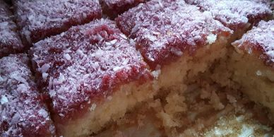 Easy Raspberry & Coconut Sponge Squares