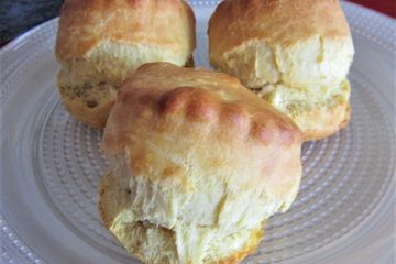 Classic British scones, 3 on a plate, perfect scone rise