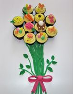 flower bouquet made from cupcakes with fondant spring toppers