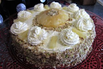 PINEAPPLE GRIESTORTE - genoise sponge with whipped & pipped cream, pineapple and crushed pistachios