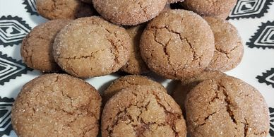 heritage ginger cookies piled on a plate