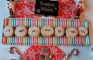 viennes whirls in a long tray and staged with Christmas decorations