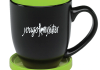 Bistro Mug black /lime green w coaster $16