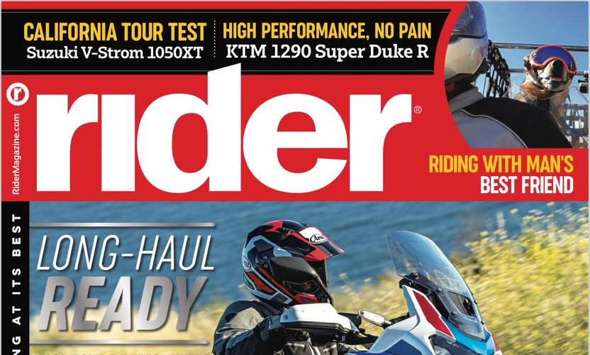 Rider Magazine July 2020 issue cover - showing a picture of George riding in his tote