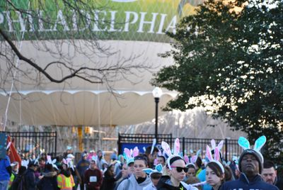 Thousands of participants gather together to fight Parkinson's Disease the day before Easter.