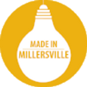 Made in Millersville logo - upside down lightbulb