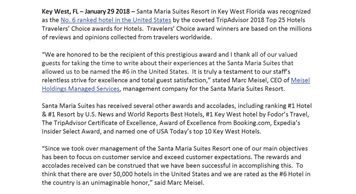 Meisel Holdings Manages Services | Santa Maria Suites Top Hotel in The USA