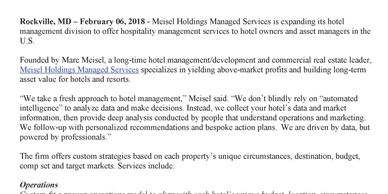 Meisel Holdings Managed Services | Hotel Management