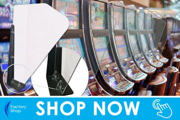 poker machine sneeze screen and partition for pokie gaming machines in pub, bar, hotel or casino