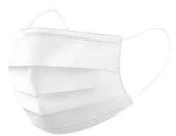 Disposable face mask in white.