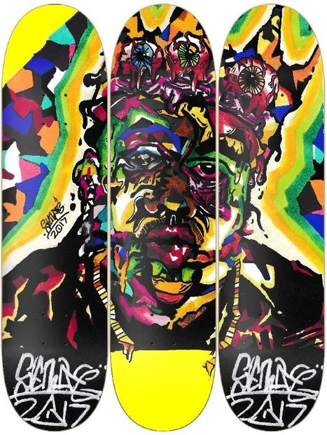 Biggies Smalls iconic abstract transferred to a triple skate board deck mural. By Sterling Molldrem.