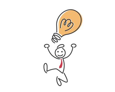 stick figure man jumping up for joy with idea lightbulb over his head