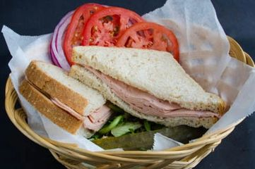 German Bologna Sandwich with your choice of breads, German mustard, cheese, lettuce, tomato