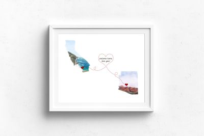 "long distance love watercolor art print to tell someone you love ""missing you"""