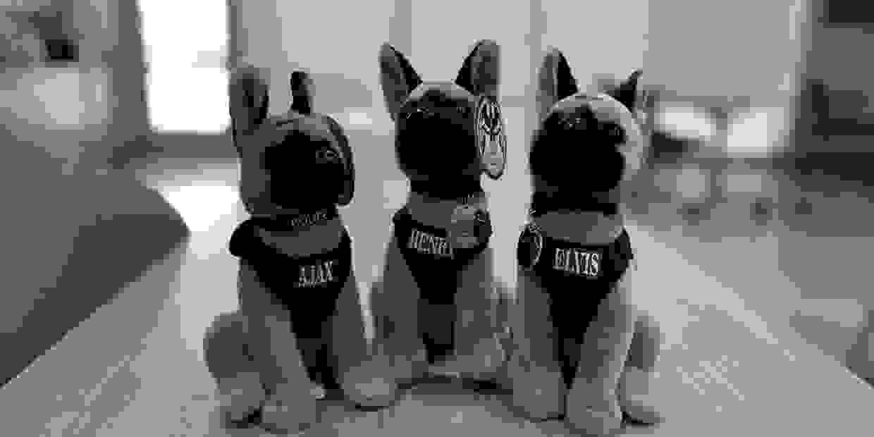 Police K-9 stuffed animals.