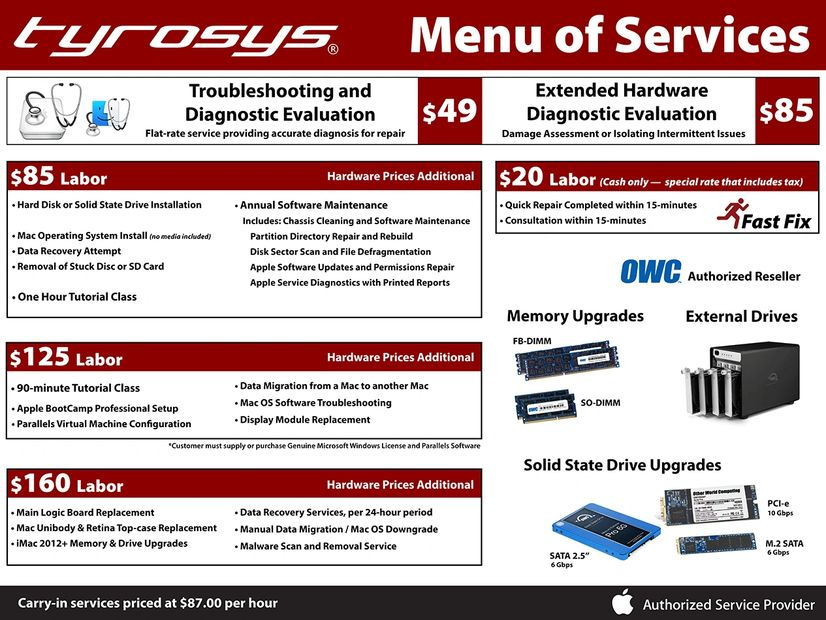 Tyrosys Menu of Mac Repair Services, selling Apple Genuine Parts, OWC Other World Computing Reseller