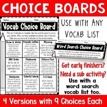 printable vocabulary choice boards that are perfect to use with our word search puzzles
