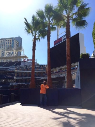 Owner Scott Cohen standing with Mexican Fan Palms we supplied & installed at Petco Park in San Diego