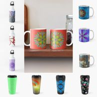 Cups, mugs, tumblers, travel mugs, water bottles, stainless steel water bottles.