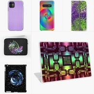 iPhone and Samsung cases, iPad cases and skins, and laptop skins and sleeves.