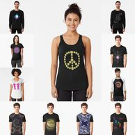 Casual t-shirts, sweatshirts, tank tops, and hoodies.