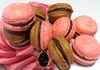 Chocolate & Strawberry Mix Macaroons with a choice of strawberry cream or chocolate ganache