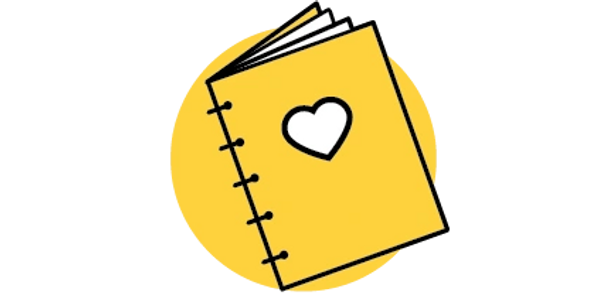 School book, heart, notebook, yellow, icon