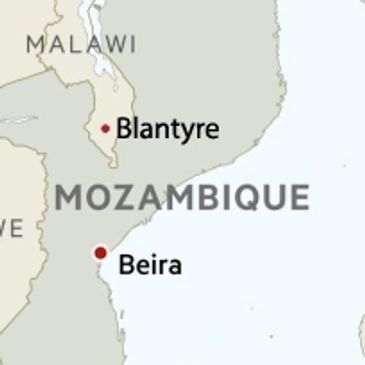 map of where Blantyre is compared to beira