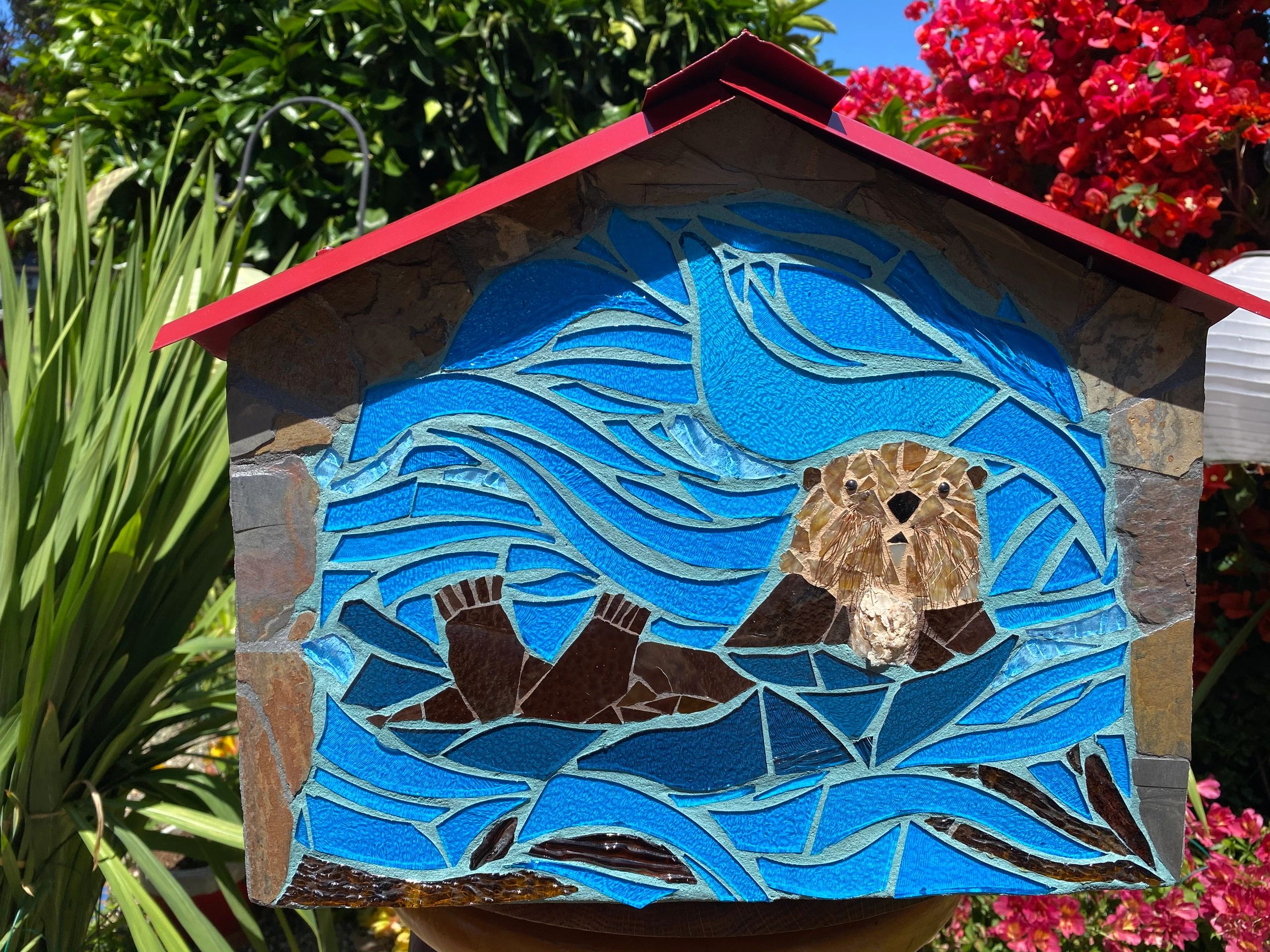 Mosaic Glass Birdhouse panel of Otter in Ocean with seaweed
